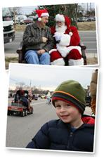 Man with Santa & Young boy watching Parade